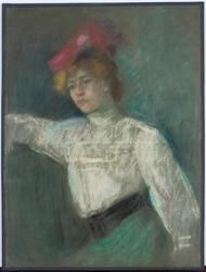 Reprodukcja portret kobiety w czerwonym kapeluszu, olga boznańska