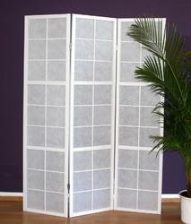 Parawan drewniany 3-skrzydłowy biały, kratka