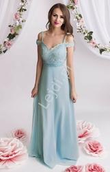 Szyfonowa suknia dla druhny zdobiona koronką, perełkami i kryształkami, błękitna 2091