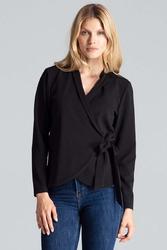 Czarna bluzka o kopertowym kroju wiązana na boku