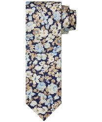 Elegancki granatowy krawat jedwabny w beżowe i niebieskie kwiaty