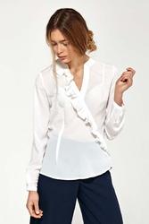 Ecru koszulowa bluzka z asymetryczną falbanką
