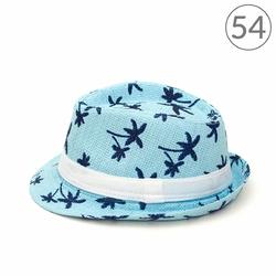 KAPELUSZ damski W PALMY ze wstążką BŁĘKITNY - błękitny 54