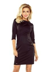 Czarna sukienka mini z szerokim półgolfem