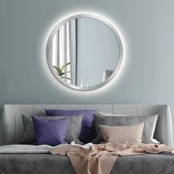 Okrągłe lustro scandinavia bold z oświetleniem led  z ramą w kolorze srebrnym