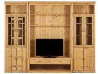 Potrójna witryna sosnowa z szafką rtv oraz drzwiczkami i drabinką anita iii w kolorze naturalnym  288x34x219 cm