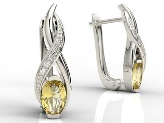 Kolczyki z białego złota z cytrynami i brylantami apk-69b - białe  cytryn