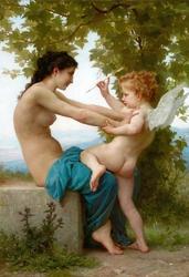 Reprodukcja una giovane ragazza che si difende da eros, william-adolphe bouguereau