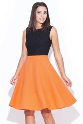 Pomarańczowa kobieca rozkloszowana spódnica