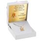 Złoty medalik z łańcuszkiem pr. 585 matka boska z małym jezusem na chrzest komunię grawer - białe z różową kokardką