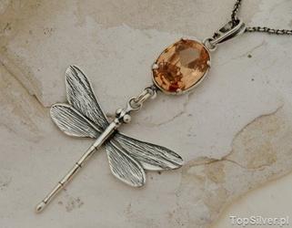 Ważka - srebrny wisior z topazem złocistym