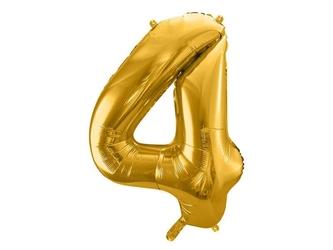 Balon foliowy metalizowany cyfra 4, 86 cm, złoty