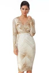 Krótka cekinowa sukienka obcisła w złotym kolorze goddiva 2617