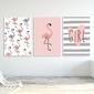 Zestaw plakatów dziecięcych - sweet flamingo , wymiary - 70cm x 100cm 3 sztuki, kolor ramki - biały