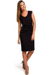 Czarna sukienka z elementami drapowania