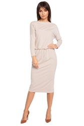 Luźna dłuższa sukienka z długim rękawem beżowa b014