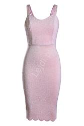 Lureksowa  brokatowa jasnoróżowa sukienka midi 983