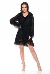 Czarna szyfonowa zwiewna sukienka z falbankami
