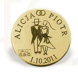 Grosz duży na szczęście ze złota d-1z doskonały na ślub lub każdą rocznicę