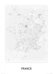 France, black and white - mapa