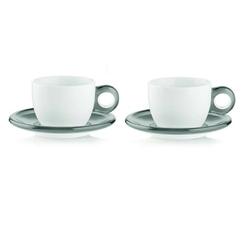 Guzzini - gocce - kpl. 2 filiżanek do cappuccino, szary - szary