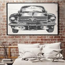 Mustang - plakat designerski , wymiary - 60cm x 90cm, ramka - czarna