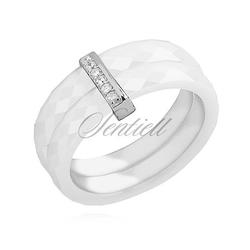 Pierścionek ceramiczny biały podwójny ze srebrnym pr. 925 elementem - prostokąt z cyrkoniami