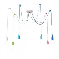 Kolorowa lampa loft żyrandol pająk oplot spider 6