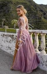 Długa tiulowa sukienka dla druhny, na studniówkę, na wesele, adel brudny róż