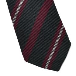 Granatowy krawat wełniany van thorn w bordowe pasy