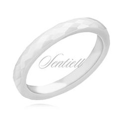 Bialy fasetowany pierścionek ceramiczny 3mm - biały