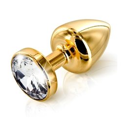 Zdobiony plug analny - diogol anni butt plug round gold 25 mm okrągły złoty