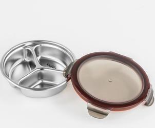 Lunchbox okrągły z 3 przegrodami 0,28 litra, stalowy to go cuitisan ec4178