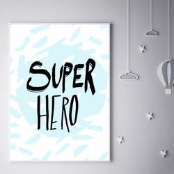 Super bohater na niebieskim tle - plakat wymiar do wyboru: 30x40 cm