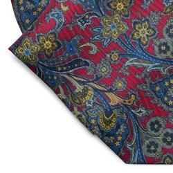 Elegancki czerwony fular jedwabny hemley w roślinny wzór