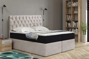 Tapicerowane łóżko kontynentalne ronne z zagłówkiem w stylu glamour