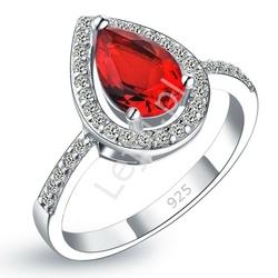 Srebrny pierścionek damski z czerwonym oczkiem, 925
