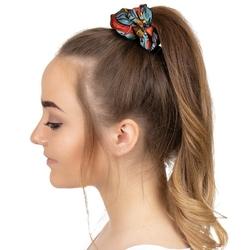 Gumka do włosów niebieska scrunchies wzór frotka