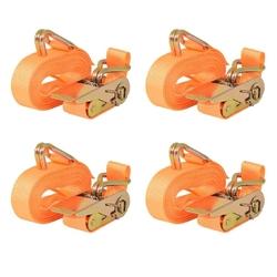 Vidaxl taśmy mocujące z napinaczami, 4 szt, 0,4 t, 6mx25mm, pomarańcz