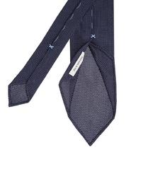 Jedwabny granatowy krawat typu 3 fold profuomo z grenadyny