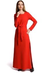 Prosta sukienka maksi z rozcięciem na co dzień czerwona m354