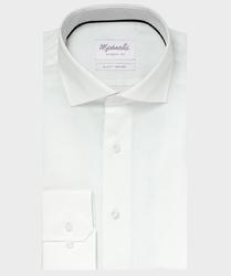 Elegancka biała koszula ze splotem oxford michaelis z kołnierzem włoskim 42