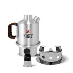 Aluminiowa kuchenka czajnik turystyczny survival kettle half srebrna - zestaw