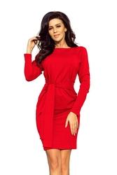 Dopasowana sukienka z wiązanym paskiem - czerwona
