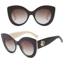 Okulary przeciwsłoneczne damskie kocie oko brązowe
