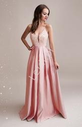 Suknia wieczorowa jasno różowa z koronkową górą z kryształkami, 2030