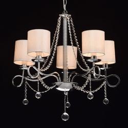 5-ramienna lampa wisząca chrom, białe klosze i kryształy mw-light elegance 684010105
