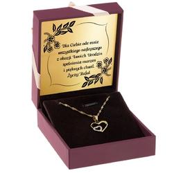 Złoty naszyjnik serce cyrkonie 585 prezent grawer