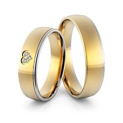 Obrączki ślubne dwukolorowe z sercem i brylantami - au-968