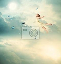 Obraz little girl latanie w zmierzchu